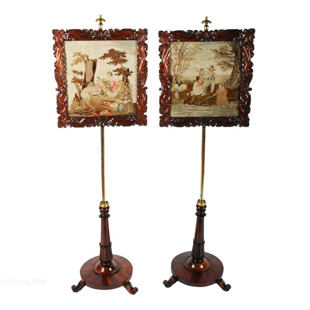 Pair Of George IV Rosewood Pole Screens - Antiques Atlas