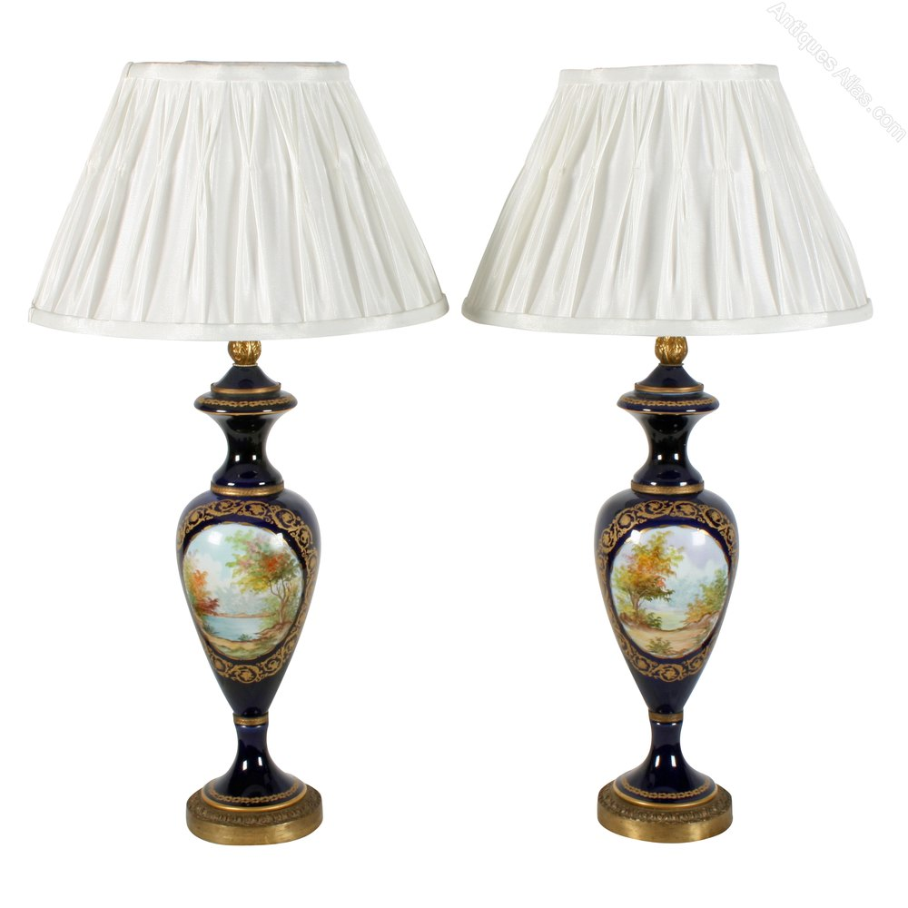 of 20th century s vres style porcelain and gilt brass table lamps. Black Bedroom Furniture Sets. Home Design Ideas