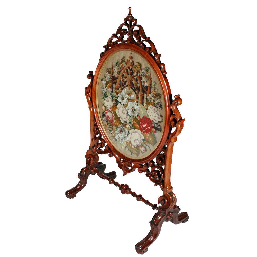 Antiques Atlas Victorian Walnut Frame Tapestry Fire Screen