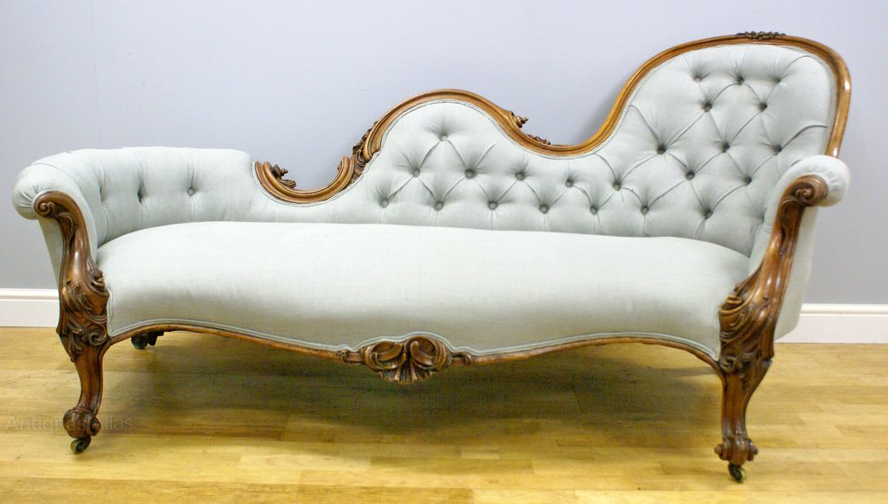 A victorian carved walnut sofa chaise lounge antiques atlas for Carved chaise lounge