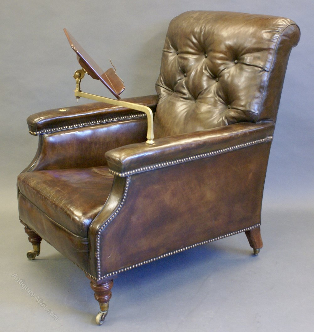 A large victorian leather reading chair antiques atlas for Oversized reading chair for sale