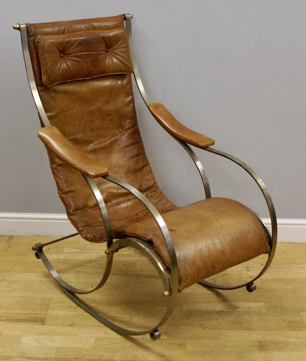 A steel and leather rocking chair by r w winfield