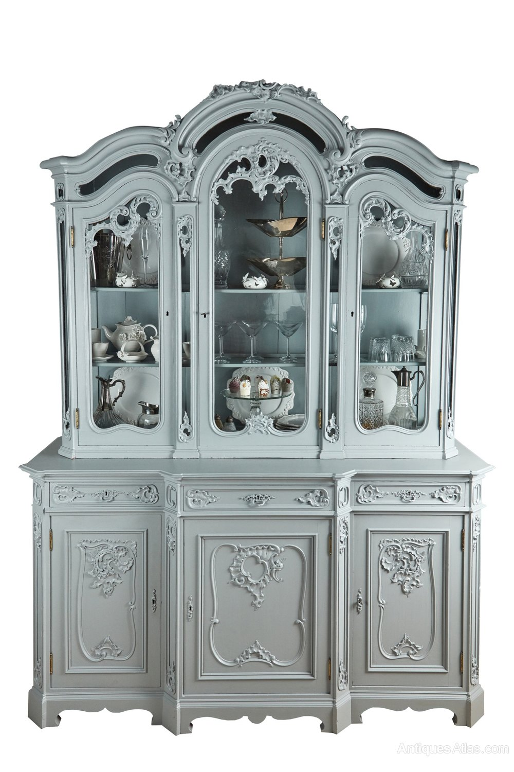 Large French Carved And Painted Display Cabinet Antiques