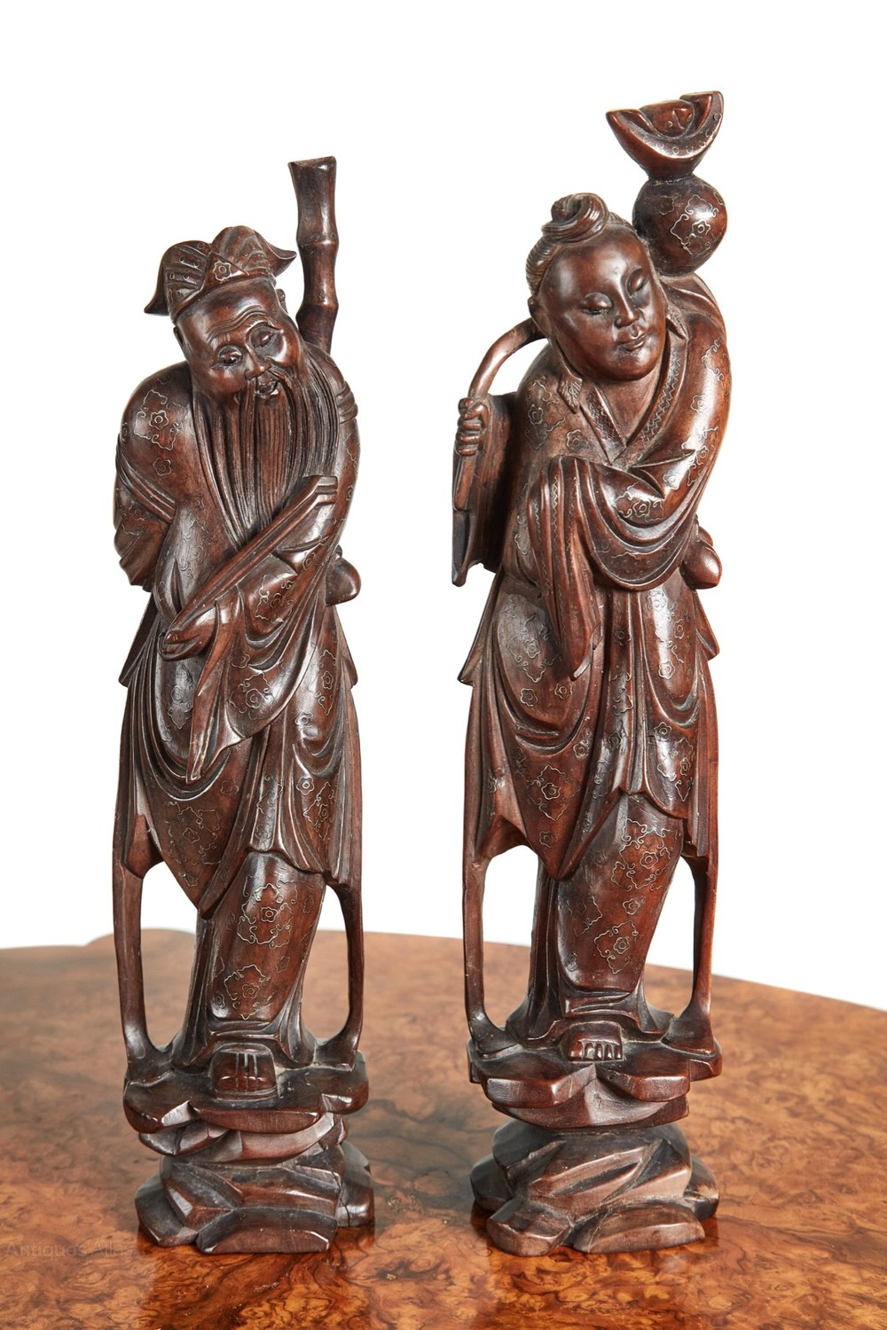 Antiques atlas pair of inlaid hardwood chinese carved