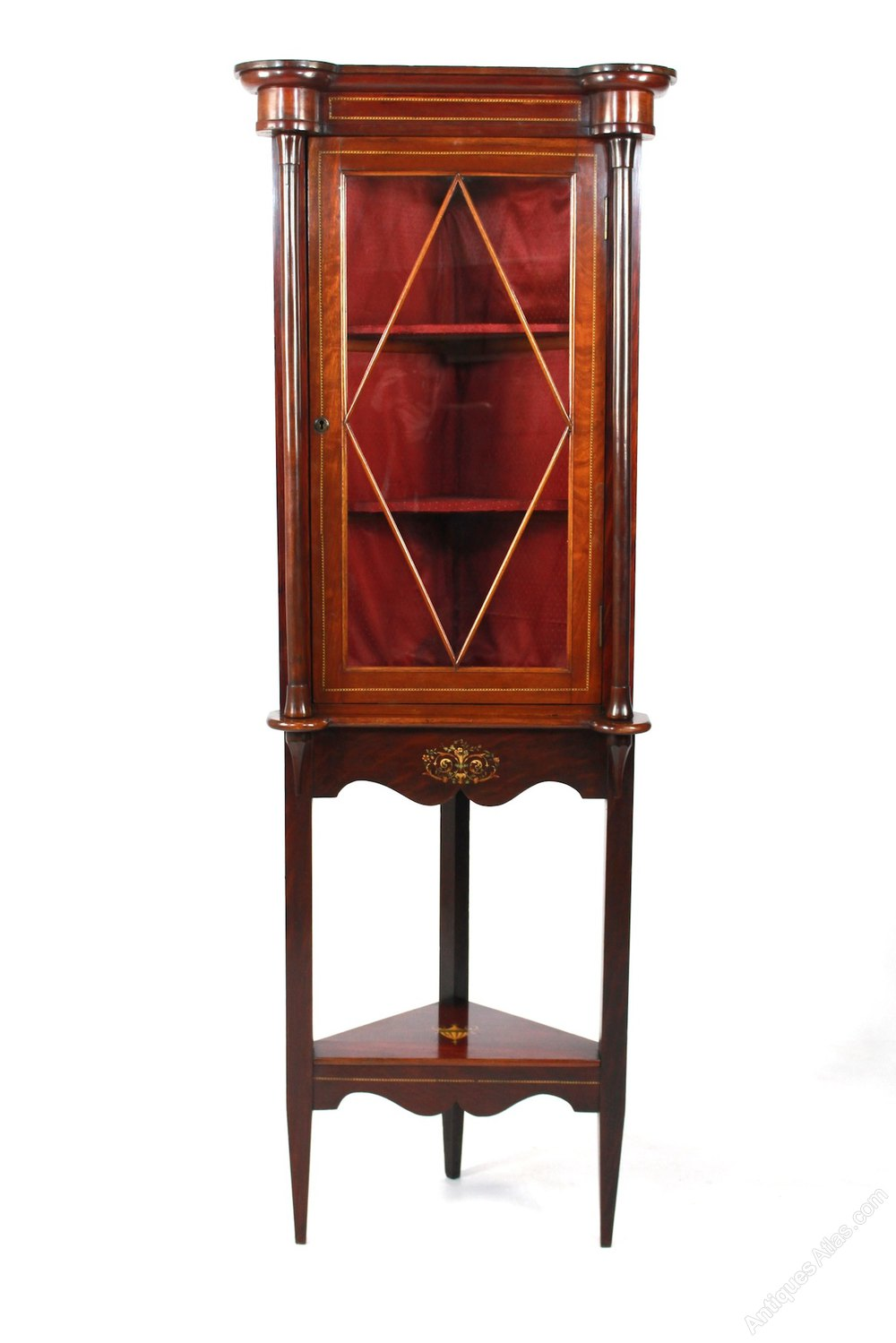 Antique edwardian mahogany corner display cabinet for Antique display cabinet