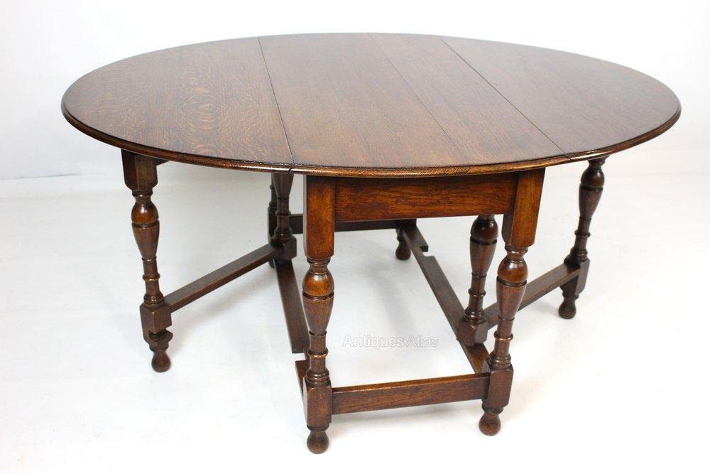 Antiques atlas oak gateleg drop leaf oval dining table for Antique drop leaf dining table