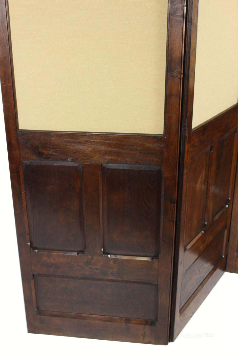 Antique Oak 3 Fold Dressing Screen Room Divider Antiques