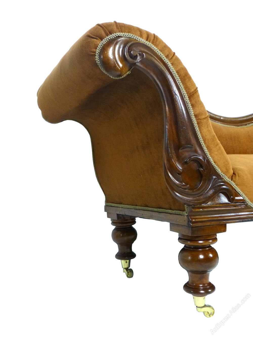 Antique victorian mahogany chaise longue sofa antiques atlas for Antique victorian chaise lounge