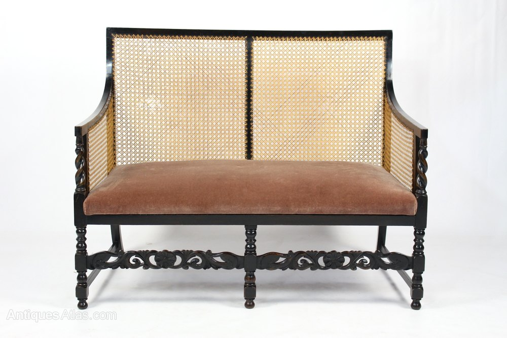 Edwardian Ebonised Beech Bergere Cane Sofa Settee Antiques Atlas