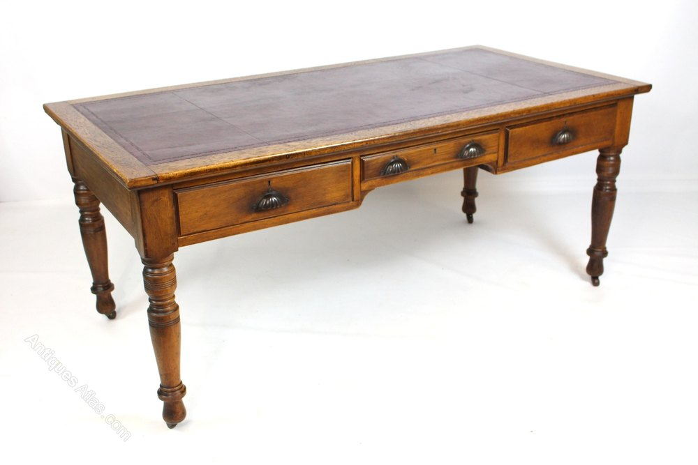 Large Victorian Oak Library Table Writing Desk - Antiques Atlas