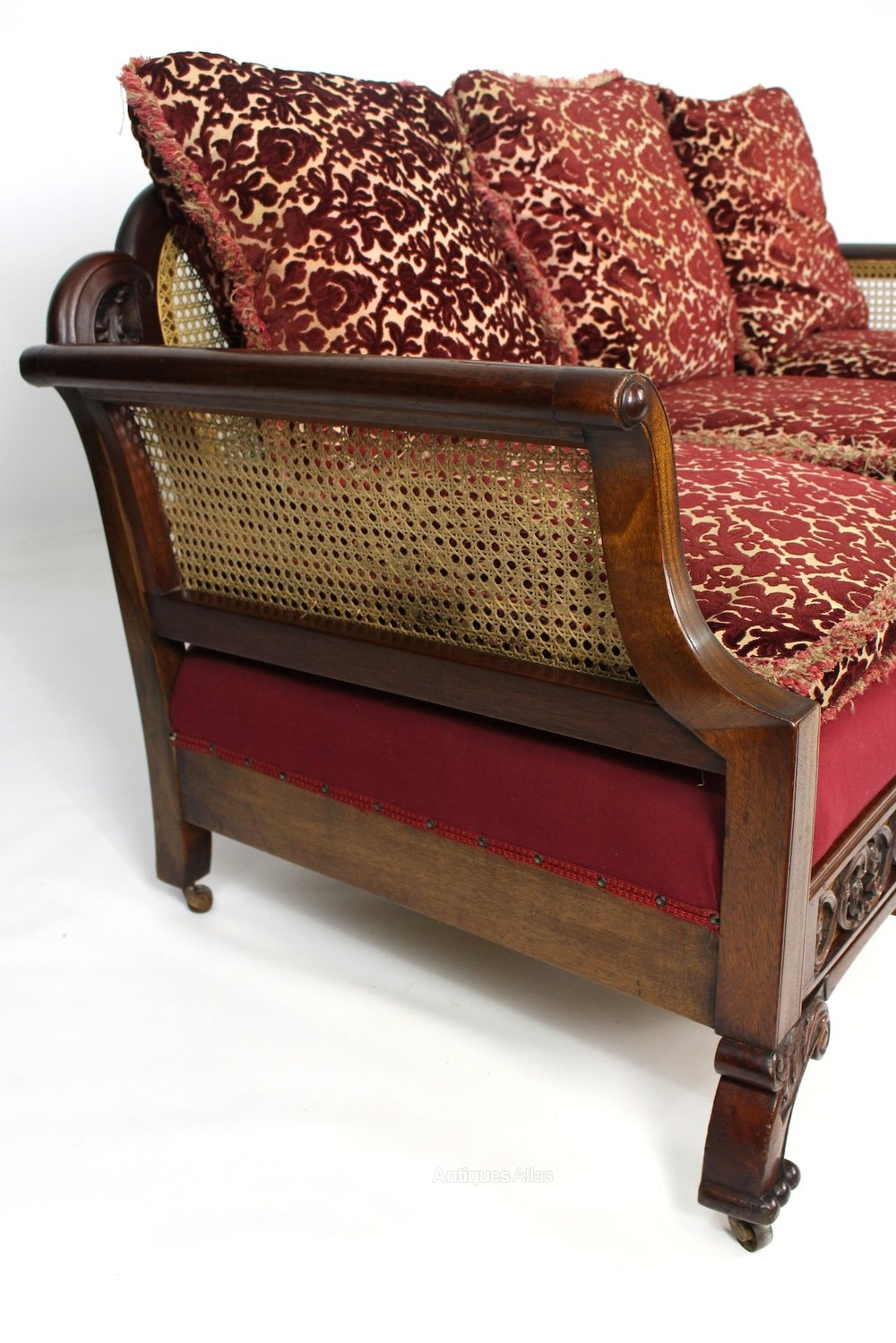 Mahogany upholstered bergere cane sofa settee antiques atlas for Settees and sofas