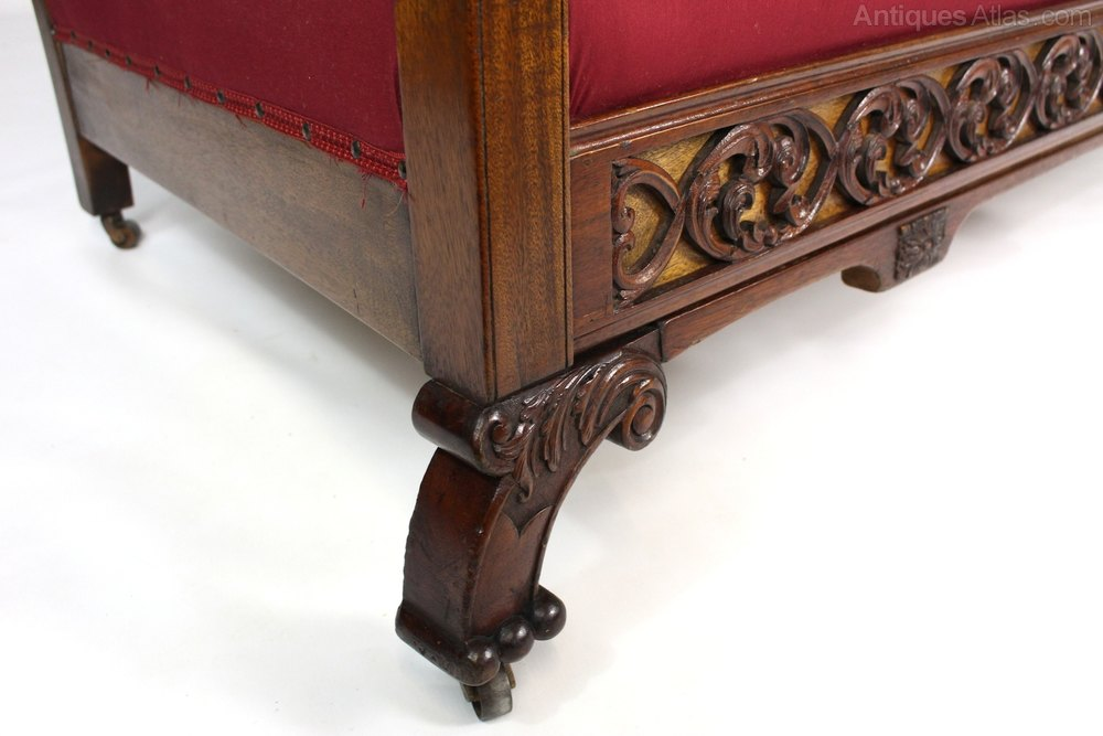 Mahogany Upholstered Bergere Cane Sofa Settee Antiques Atlas