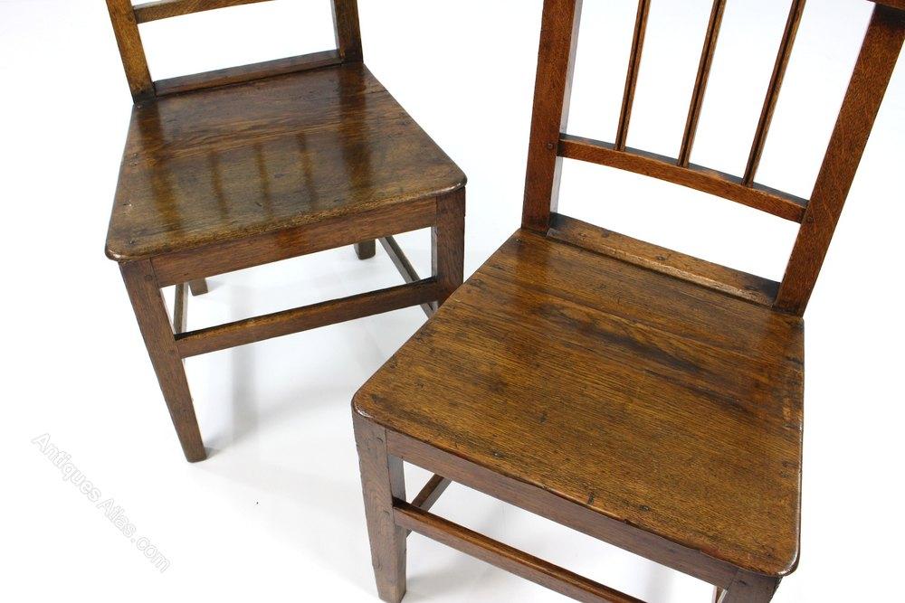 Pair antique rustic oak country farmhouse chairs for Farmhouse rustic oak