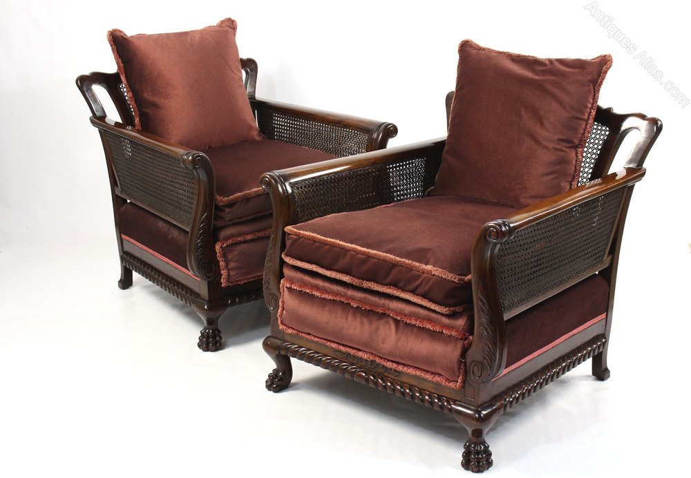 Pair Of Antique Mahogany Bergere Cane Armchairs - Antiques ...