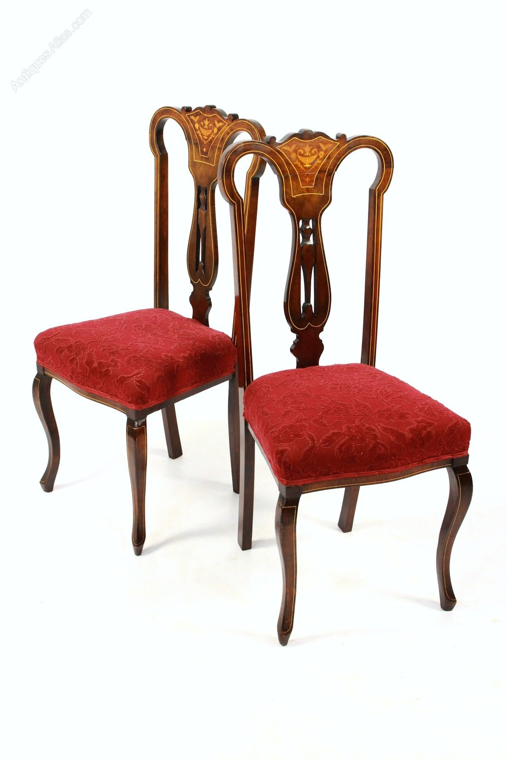Pair Of Edwardian Inlaid Bedroom Dining Chairs Antiques