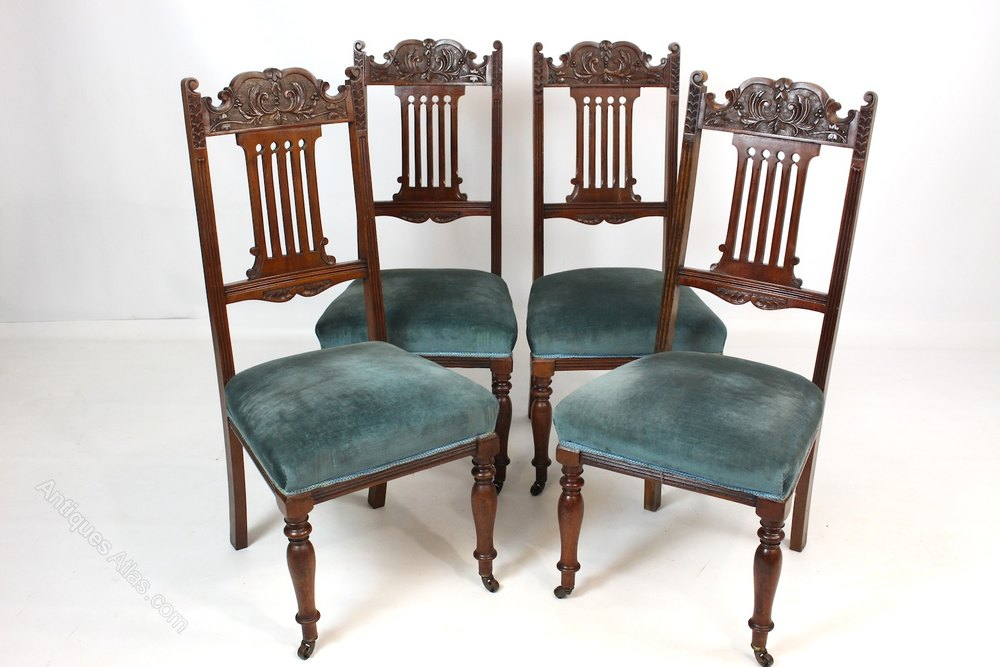 Set Of 4 Walnut Dining Chairs Antiques Atlas