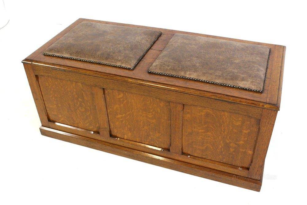 upholstered oak ottoman chest trunk storage box antiques