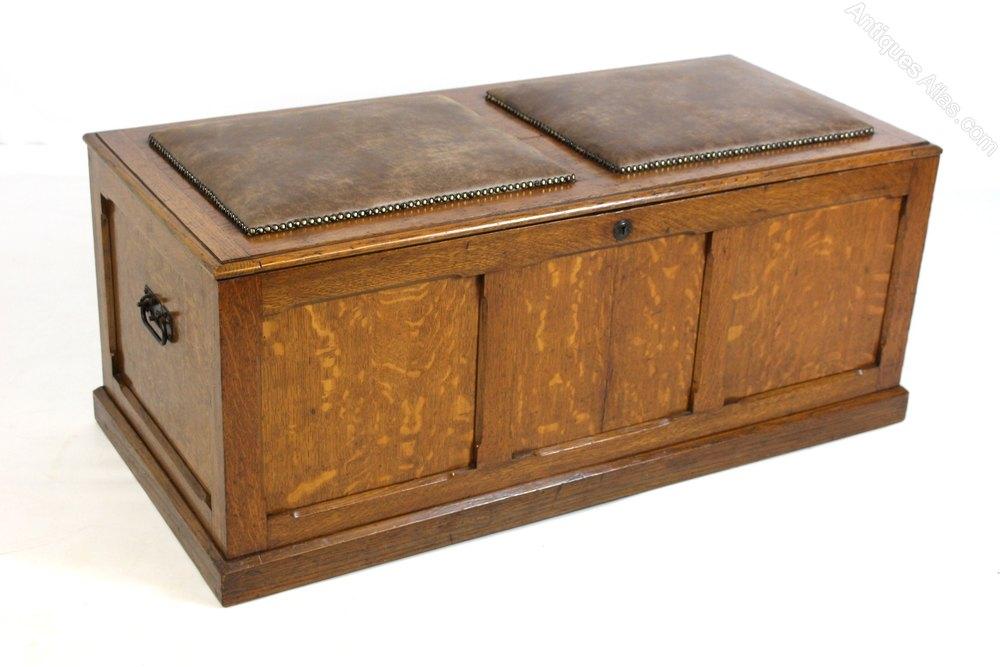 Upholstered oak ottoman chest trunk storage box antiques for Oak ottoman storage