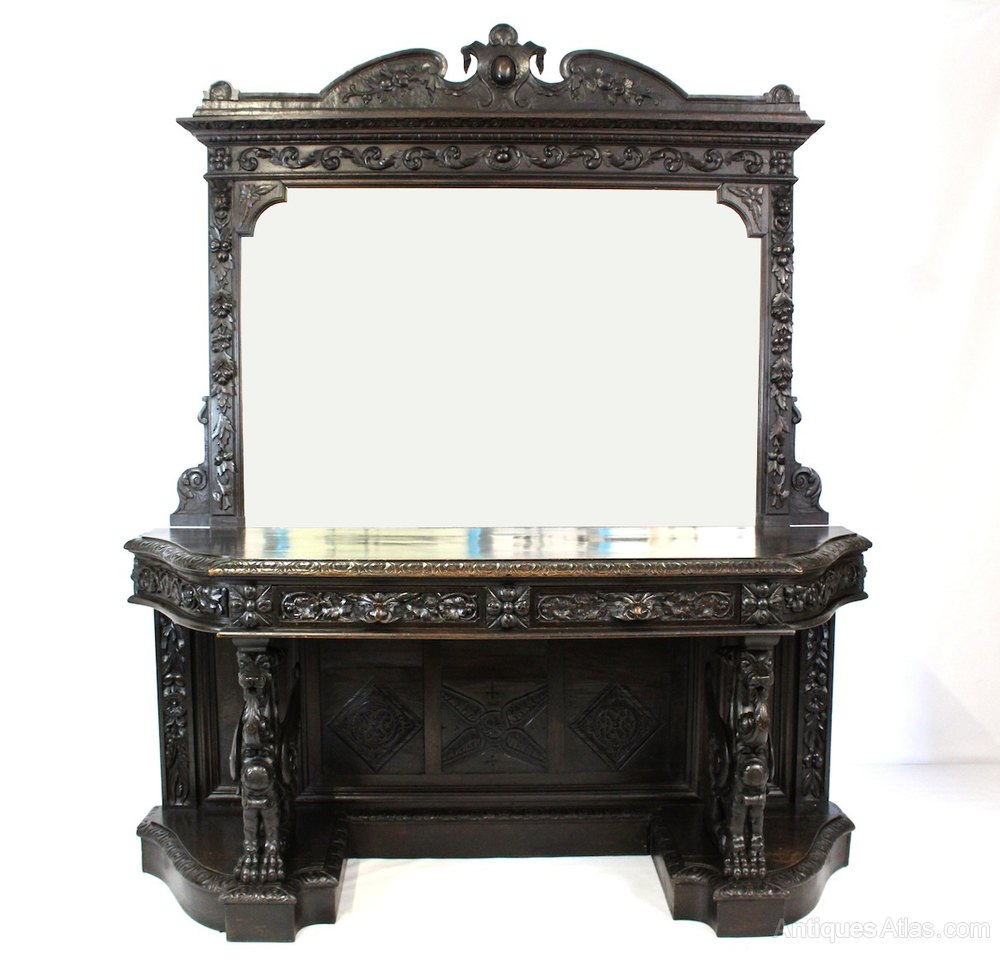 Victorian oak green man mirrored gothic sideboard for Victorian mirror
