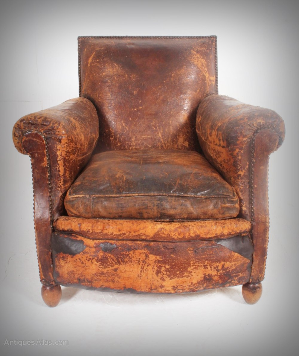 Antique leather armchair - Leather Armchair Soft Worn Country House Look Antique Armchairs