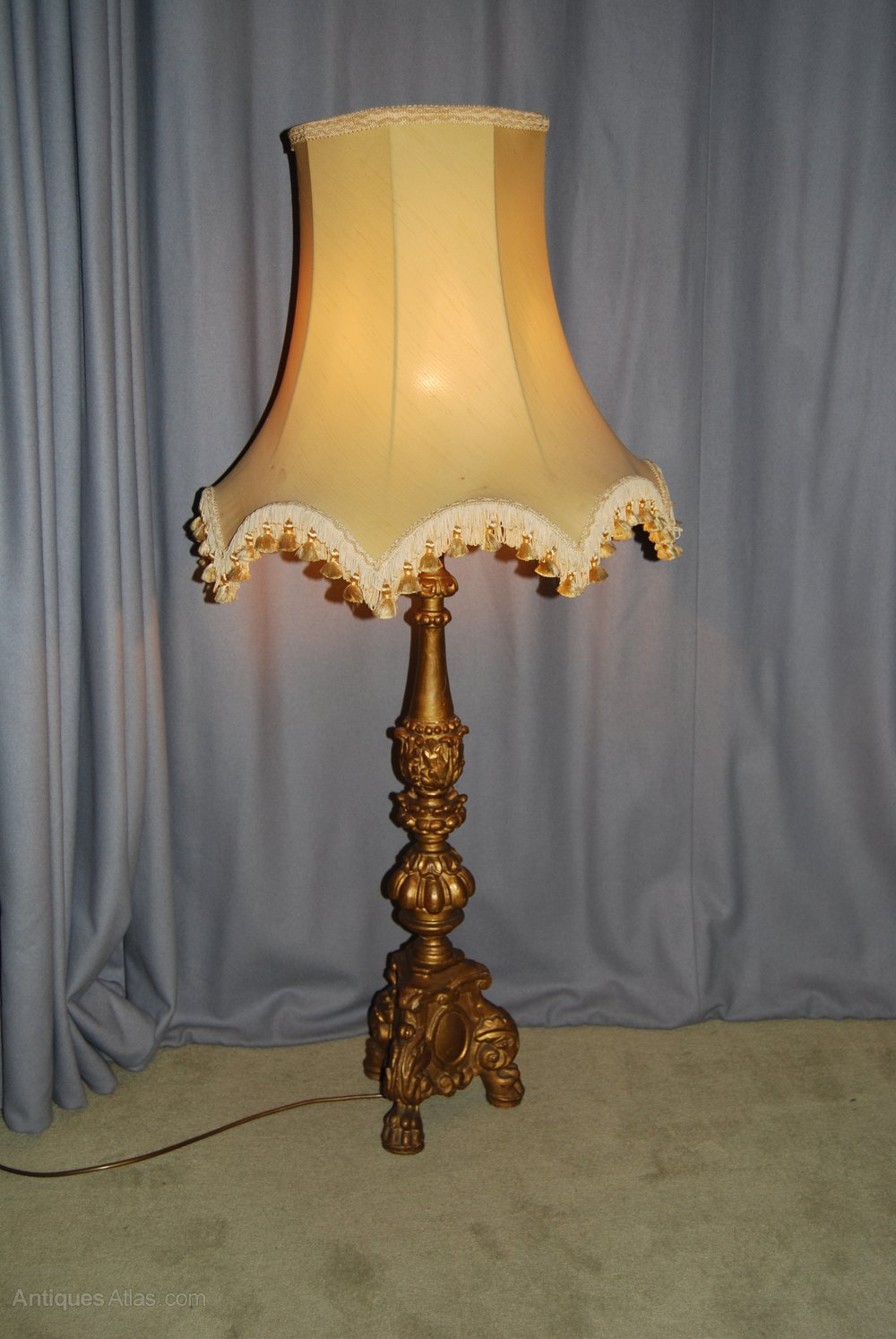 Antiques Atlas 19th C Giltwood Oil Lamp Stand Now Electric