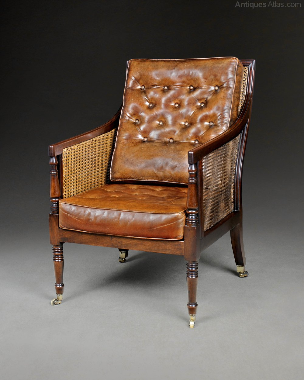 Regency Mahogany Library Bergere Armchair Antiques Atlas
