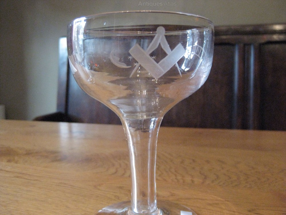 Antiques atlas 6 champagne glasses with masonic engraving - Hollow stem champagne glasses ...