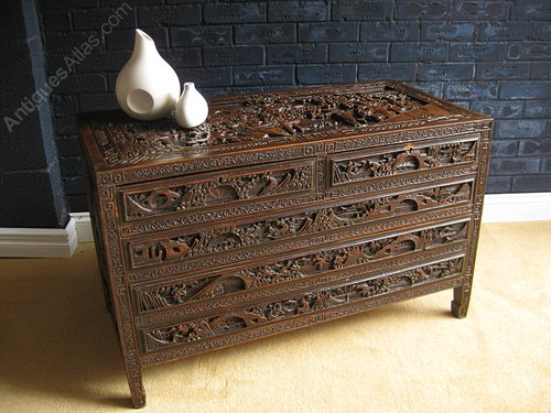 Superb Carved Chinese Camphorwood Chest Of Drawers