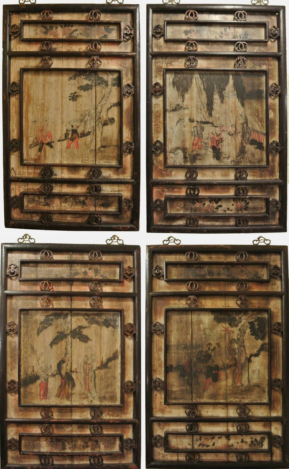 Antique Wood Paneling For Walls: Set Of Four Chinese Wall Panels