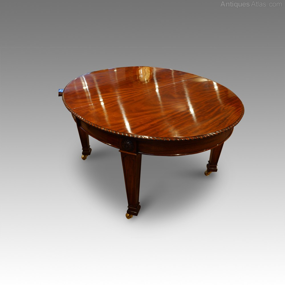10 Seat Edwardian Mahogany Extending Dining Table