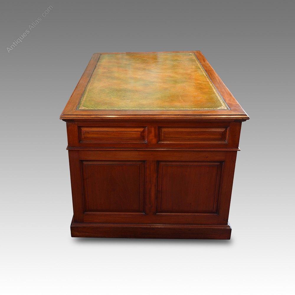 Edwardian Mahogany Paneled Pedestal Desk Antiques Atlas