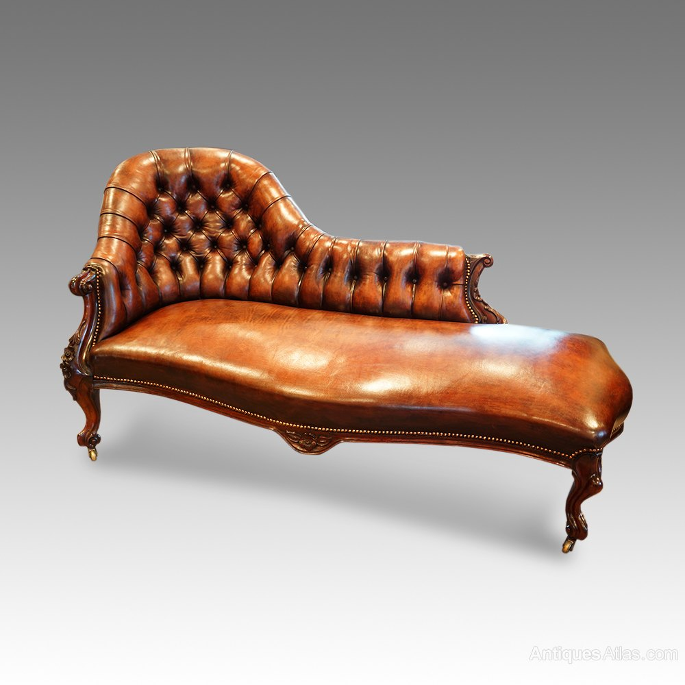 Victorian rosewood chaise lounge antiques atlas for Antique wooden chaise lounge