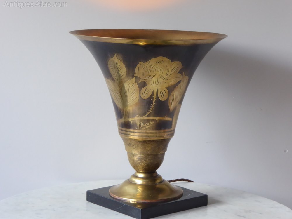 antiques atlas art deco dinanderie vase uplighter. Black Bedroom Furniture Sets. Home Design Ideas