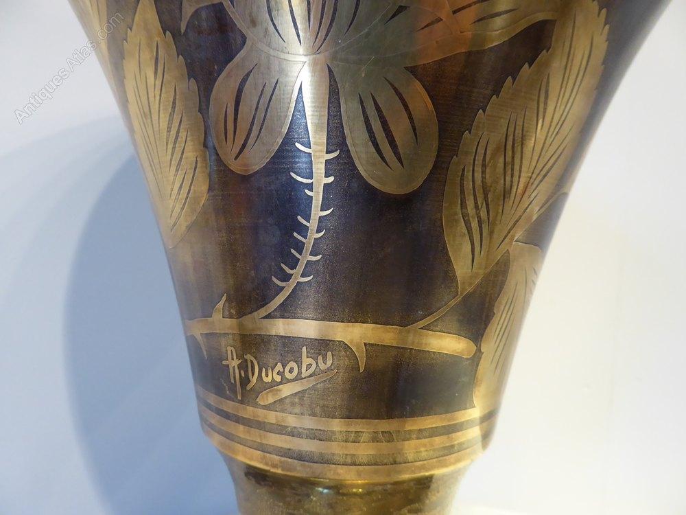 antiques atlas art deco dinanderie vase uplighter. Black Bedroom Furniture Sets. Home Design Ideas