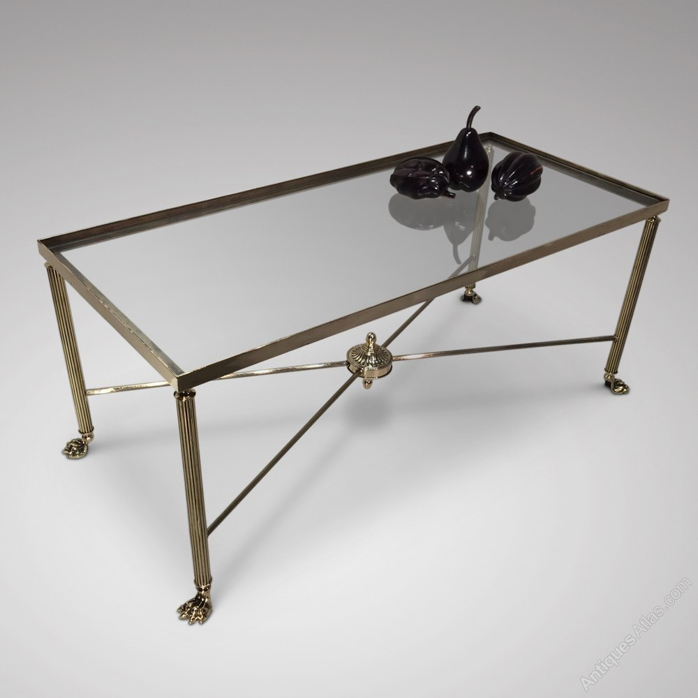 Superb Mid Century Brass & Glass Coffee Table