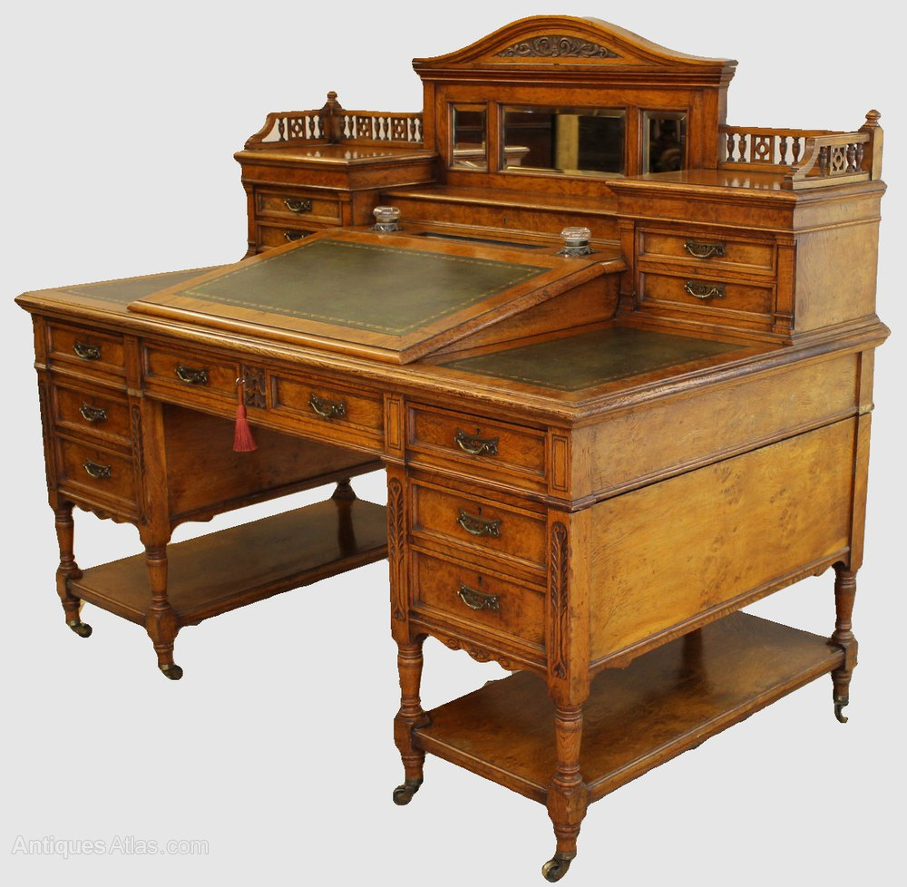 victorian light oak desk antiques atlas