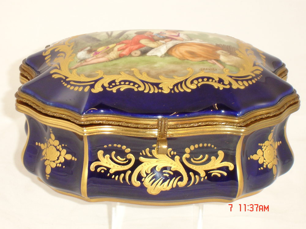 Z Marine Sevres 19th C French Sevres Jewel Box