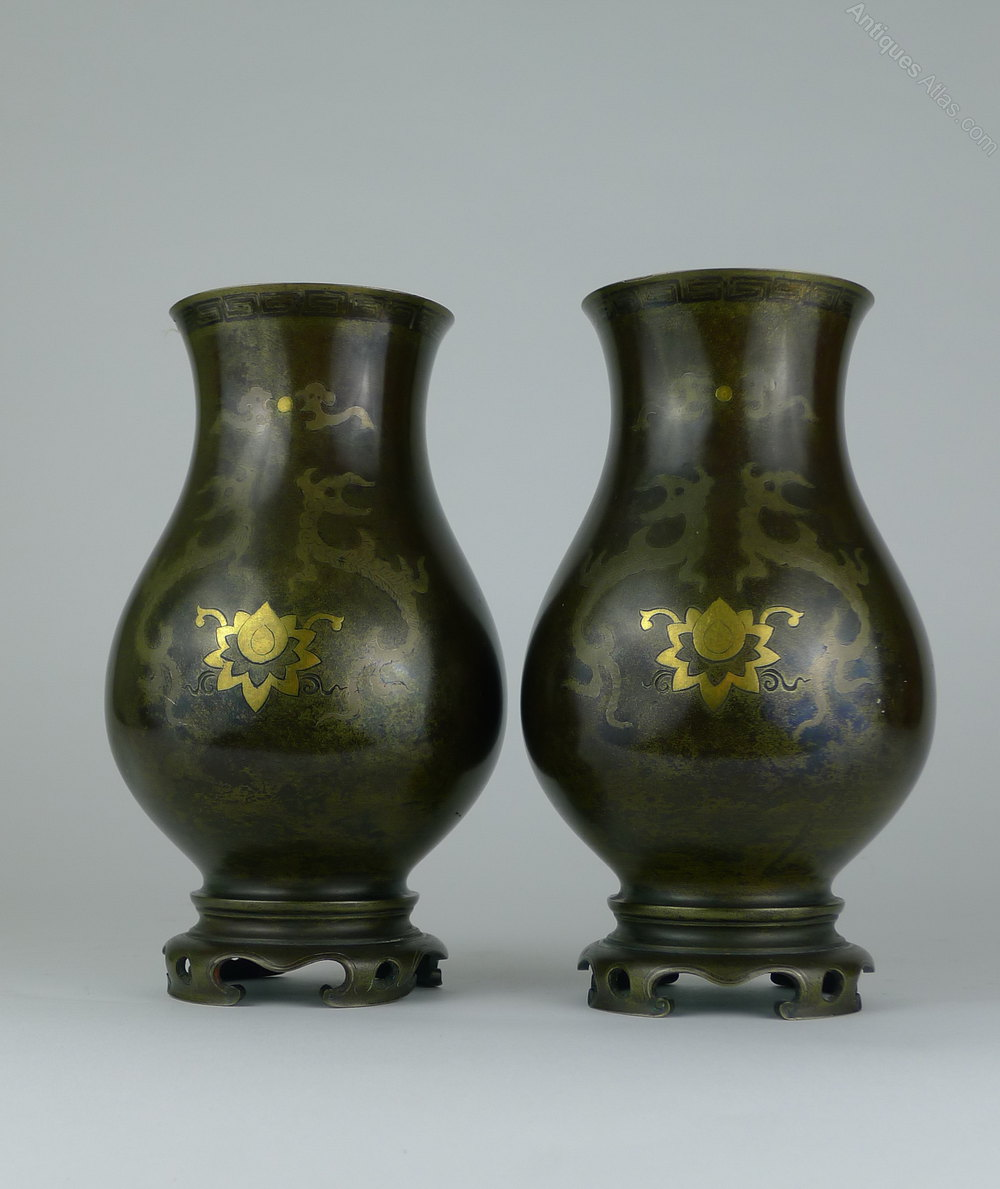 Antiques Atlas Pair 19th C Chinese Bronze Vases