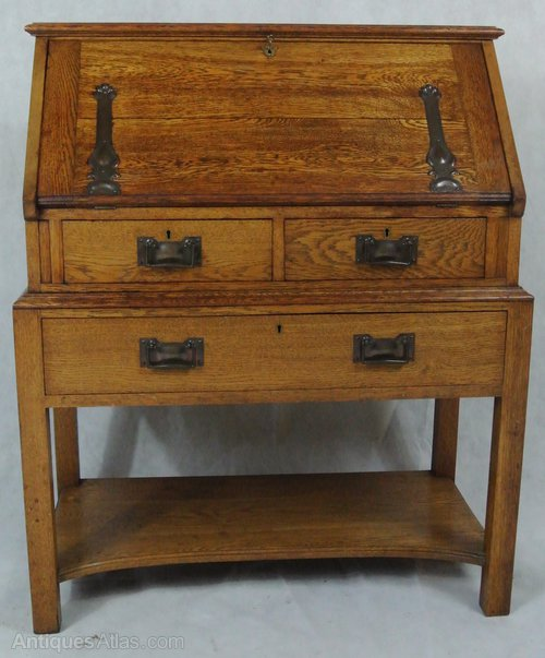 Golden oak art deco bureau antiques atlas for Deco bureau