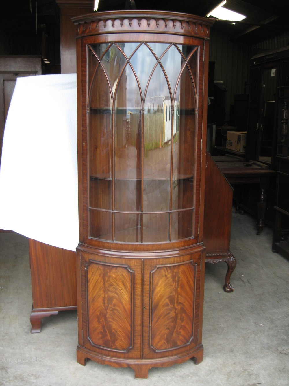 Antiques atlas standing bow front corner cabinet for Antique free standing kitchen cabinets