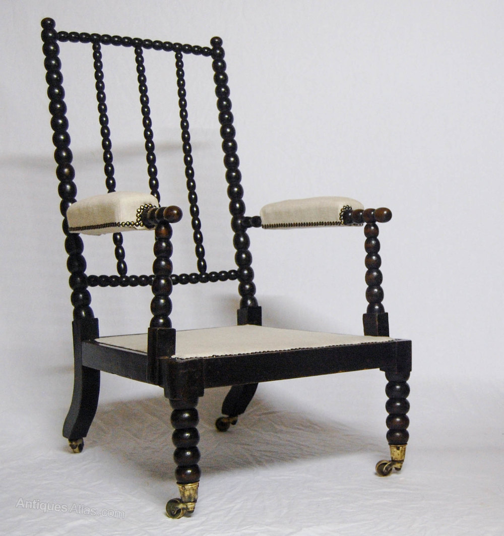 Victorian Ebonised Bobbin Chair Attributed To Smee