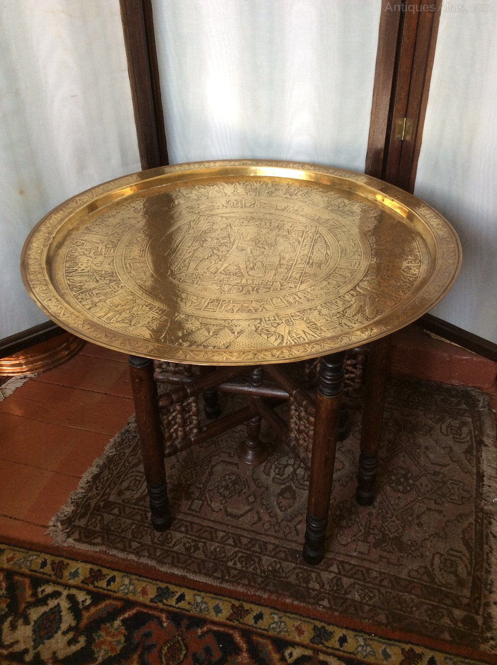 Benares Brass Top Coffee Table Antiques Atlas