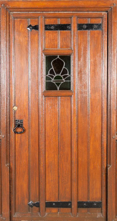 Antiques Atlas Art Deco Leaded Glass Solid Oak Door And Surround