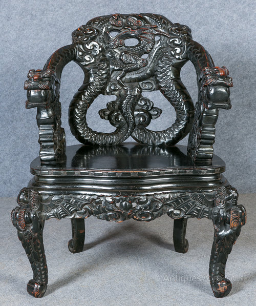 Chinese Dragon Armchair Antique Armchairs Oriental Chair ... - Chinese Dragon Armchair - Antiques Atlas
