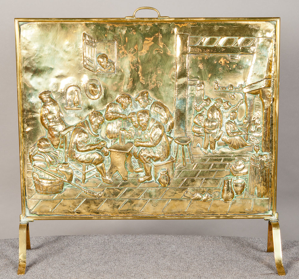 antiques atlas edwardian brass fire screen
