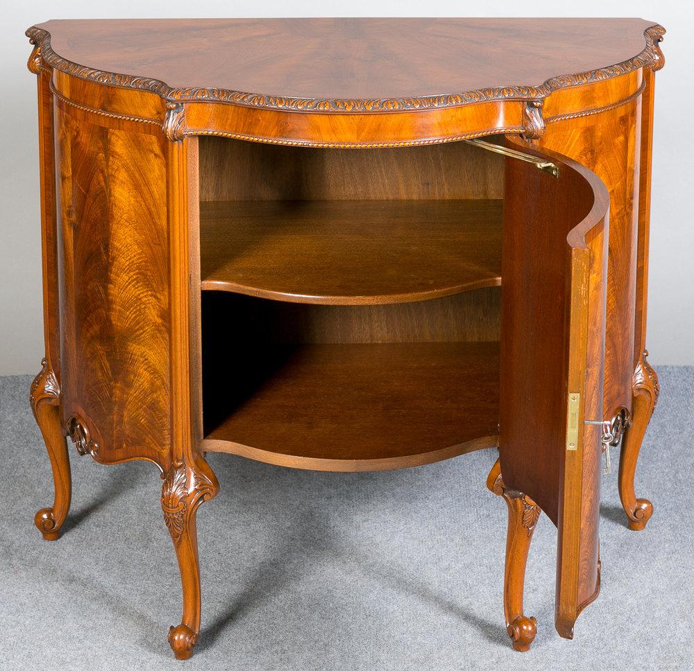 Figured Walnut Demi Lune Side Cabinet. - Antiques Atlas