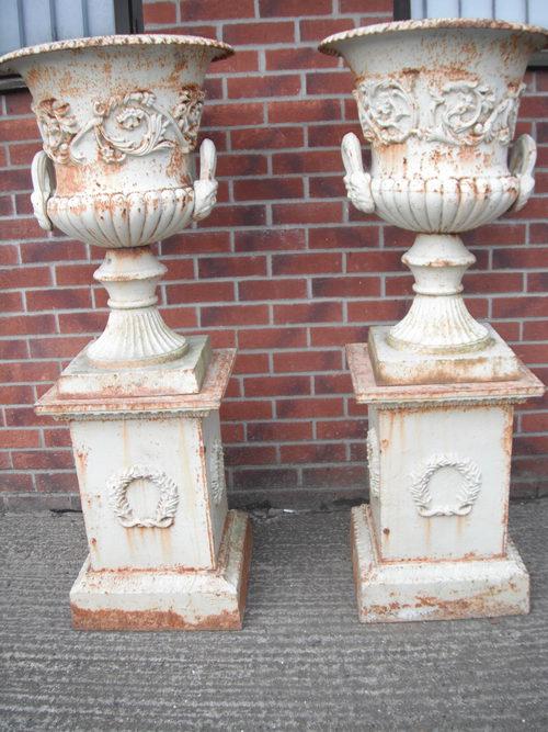 Antiques Atlas Large Pair Of Cast Iron Garden Urns