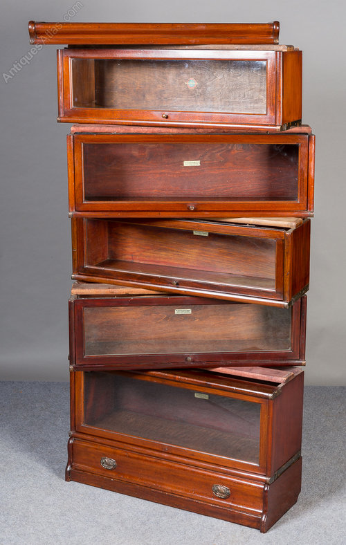 Mahogany Globe Wernicke Bookcase Antique Stacking Bookcases