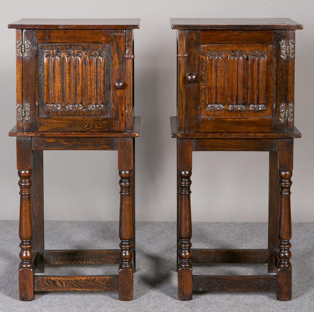 Pair Oak Bedside Cabinets Antiques Atlas
