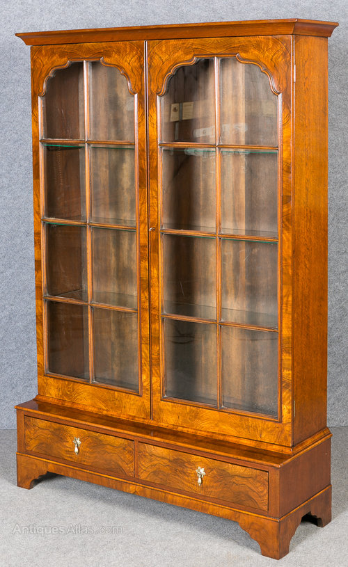Queen Anne Style Walnut Bookcase Display Cabinet Antique Glazed Bookcases